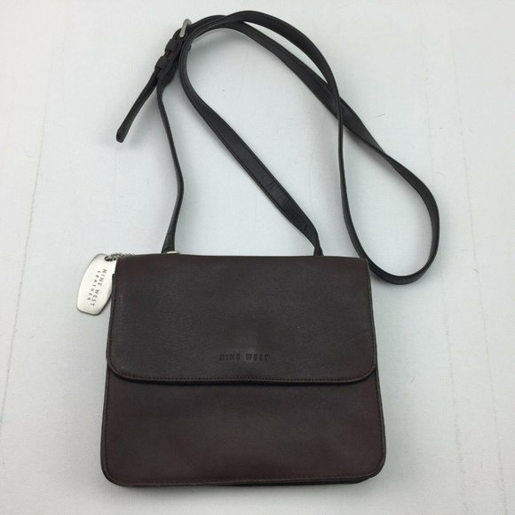 Nine West Leather Fold Over Flap Brown Crossbody